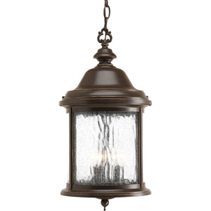 Ashmore Antique Bronze Three-Light Outdoor Pendant with Water Seeded Glass Curved Panels
