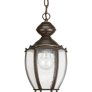 Roman Coach Antique Bronze One-Light Outdoor Pendant with Clear Seeded Glass