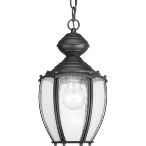Roman Coach Black One-Light Outdoor Pendant with Clear Seeded Glass