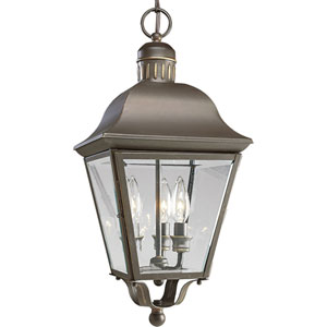 P5587-20:  Andover Antique Bronze Three-Light Outdoor Pendant