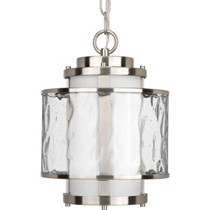 Bay Court Outdoor Brushed Nickel One-Light Outdoor Pendant with Distressed Clear and Etched Opal Glass Cylinder