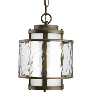 Bay Court Outdoor Antique Bronze One-Light Outdoor Pendant with Distressed Clear and Etched Opal Glass Cylinder