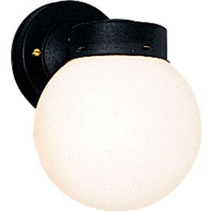 Utility Lantern Black One-Light Outdoor Wall Mount with White Glass