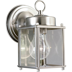 Flat Glass Lantern Brushed Nickel One-Light Outdoor Wall Sconce with Clear Glass