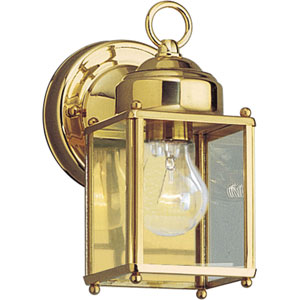 Flat Glass Lantern Polished Brass One-Light Outdoor Wall Sconce with Clear Flat Glass