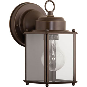 Flat Glass Lantern Antique Bronze One-Light Outdoor Wall Sconce with Clear Flat Glass