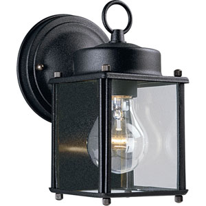 Flat Glass Lantern Black One-Light Outdoor Wall Sconce with Clear Flat Glass