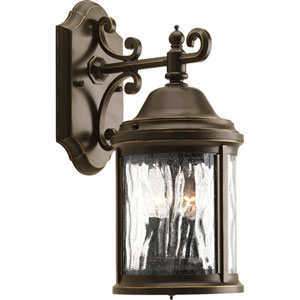 Ashmore Antique Bronze Two-Light Outdoor Wall with Water Seeded Glass Curved Panels