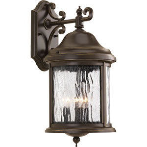 Ashmore Antique Bronze 17.25-Inch Three-Light Outdoor Wall Mount with Water Seeded Glass Curved Panels