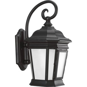 Crawford Black One-Light Eight-Inch Outdoor Wall Lantern with Etched White Glass Panels