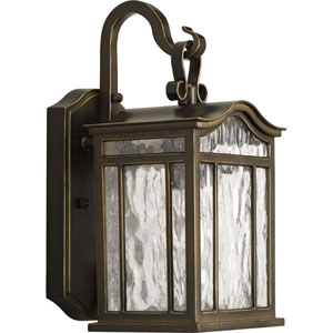 Meadowlark Oil Rubbed Bronze One-Light Outdoor Wall Sconce with Water Seeded Glass