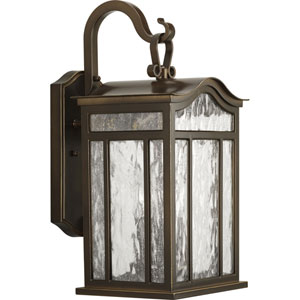 Meadowlark Oil Rubbed Bronze Three-Light Outdoor Wall Mount with Water Seeded Glass