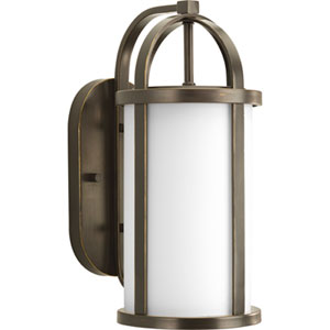 Greetings Antique Bronze One-Light Outdoor Wall Lantern with Opal Etched Glass