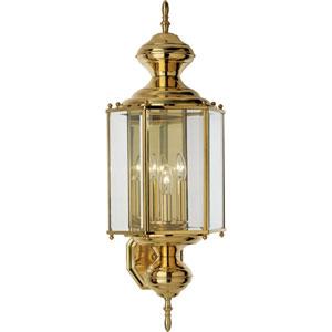 P5730-10:  BrassGUARD Lanterns Polished Brass Three-Light Outdoor Wall Lantern