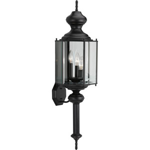 BrassGUARD Lantern Black Three-Light Outdoor Wall Mount with Clear beveled Glass