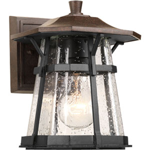 Derby Espresso 8.37-Inch One-Light Outdoor Wall Lantern with Clear Seeded Glass