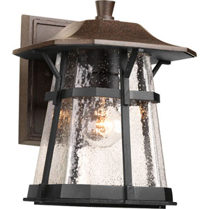 Derby Espresso 11-Inch One-Light Outdoor Wall Lantern with Clear Seeded Glass