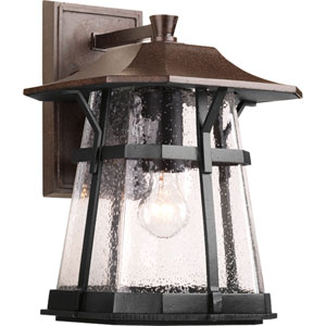 Derby Espresso 15-Inch One-Light Outdoor Wall Lantern with Clear Seeded Glass