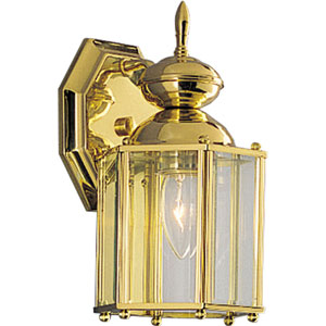 BrassGUARD Lantern Polished Brass One-Light Outdoor Wall Sconce with Clear beveled Glass