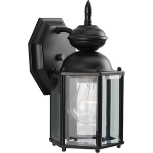 BrassGUARD Lantern Black 10.25-Inch One-Light Outdoor Wall Sconce with Clear beveled Glass