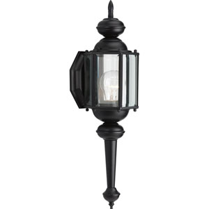BrassGUARD Lantern Black 18.75-Inch One-Light Outdoor Wall Sconce with Clear beveled Glass