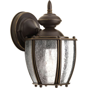 Roman Coach Antique Bronze One-Light 9.87-Inch Outdoor Wall Sconce with Clear Seeded Glass