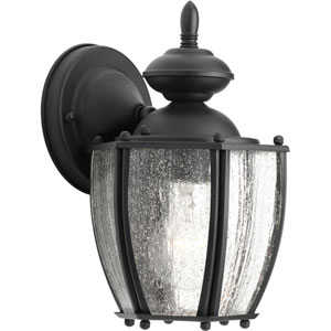 Roman Coach Black 9.87-Inch One-Light Outdoor Wall Sconce with Clear Seeded Glass