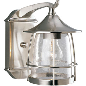 P5763-09:  Prairie Brushed Nickel One-Light Outdoor Wall Lantern