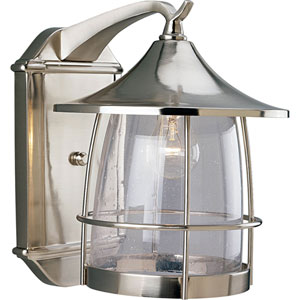 P5764-09:  Prairie Brushed Nickel One-Light Outdoor Wall Lantern
