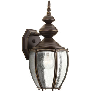 Roman Coach Antique Bronze 15.25-Inch One-Light Outdoor Wall Sconce with Clear Seeded Glass