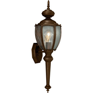 Roman Coach Antique Bronze One-Light Outdoor Wall Lantern with Clear Seeded Glass