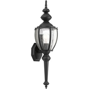 Roman Coach Black One-Light Outdoor Wall Lantern with Clear Seeded Glass