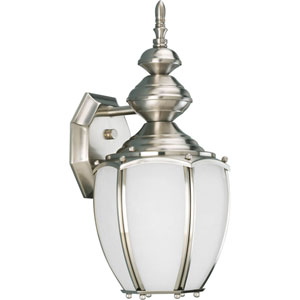 Roman Coach Brushed Nickel One-Light Outdoor Wall Lantern with Etched Seeded Glass Panels