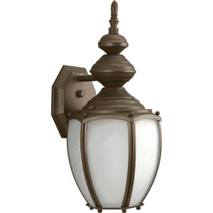 Roman Coach Antique Bronze One-Light Outdoor Wall Lantern with Etched Seeded Glass Panels