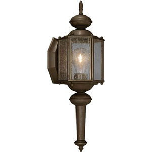 Roman Coach Antique Bronze One-Light 13.5-Inch Outdoor Wall Sconce with Clear Seeded Glass