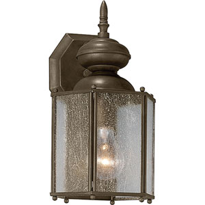 Roman Coach Antique Bronze One-Light 12.5-Inch Outdoor Wall Sconce with Clear Seeded Glass