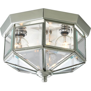 Beveled Glass Brushed Nickel Three-Light Flush Mount with Clear Beveled Glass Panels