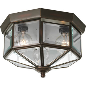Beveled Glass Antique Bronze Three-Light Flush Mount with Clear Beveled Glass Panels