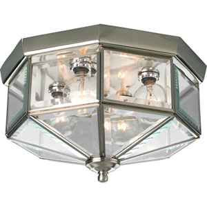 Beveled Glass Brushed Nickel Four-Light Flush Mount with Clear Beveled Glass Panels