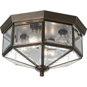 Beveled Glass Antique Bronze Four-Light Flush Mount with Clear Beveled Glass Panels