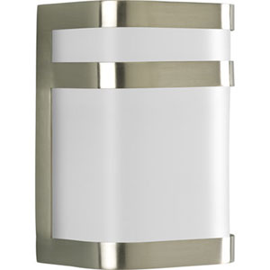 Valera Brushed Nickel 8.12-Inch One-Light Outdoor Wall Lantern with White Acrylic Diffuser