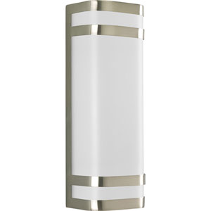 Valera Brushed Nickel Two-Light Outdoor Wall Mount with White Acrylic Diffuser