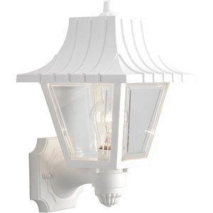 Mansard White 12.75-Inch One-Light Outdoor Wall Sconce with Clear Beveled Acrylic Panels