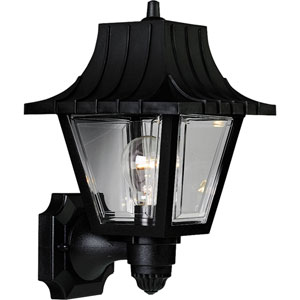 Mansard Black 12.75-Inch One-Light Outdoor Wall Sconce with Clear Beveled Acrylic Panels