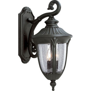 P5822-31:  Meridian Black Two-Light Outdoor Wall Lantern