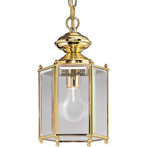 P5834-10:  BrassGUARD Lanterns Polished Brass One-Light Outdoor Semi-Flush