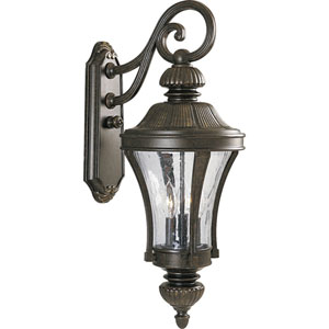 P5837-77:  Nottington Forged Bronze Three-Light Outdoor Wall Lantern