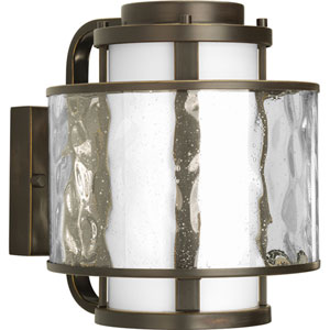 Bay Court Outdoor Antique Bronze 10.25-Inch One-Light Outdoor Wall Lantern with Distressed Clear and Etched Opal Glass
