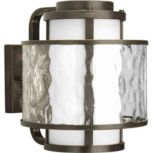 Bay Court Outdoor Antique Bronze 13.62-Inch One-Light Outdoor Wall Lantern with Distressed Clear and Etched Opal Glass