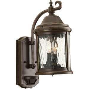 Ashmore Antique Bronze Two-Light Outdoor Wall Lantern with Water Seeded Glass Curved Panels and Motion Sensor